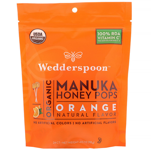 Wedderspoon, Organic Manuka Honey Pops, Orange, 24 Count, 4.15 oz (118 g)