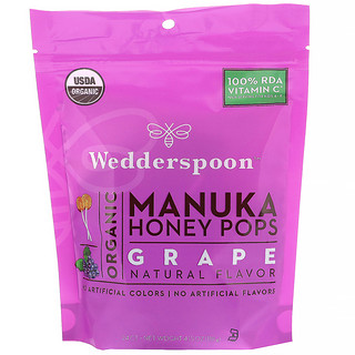 Wedderspoon, Organic Manuka Honey Pops For Kids, Grape, 24 Count, 4.15 oz