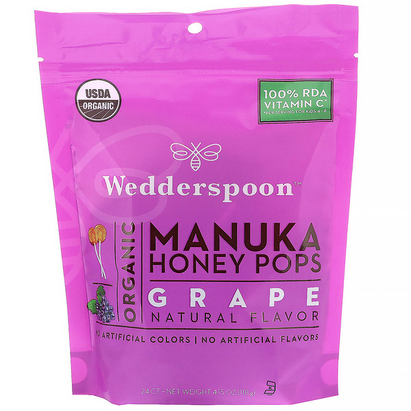 Wedderspoon, Organic Manuka Honey Pops, Grape, 24 Count, 4.15 oz (118 g)