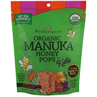 Wedderspoon, Organic Manuka Honey Pops For Kids, Orange, Grape & Raspberry, 24 Count, 4.15 oz