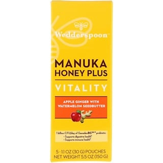 Wedderspoon, Manuka Honey Plus, Vitality, Apple Ginger with Watermelon Seedbutter, 5 Pouches, 1.1 oz (30 g) Each