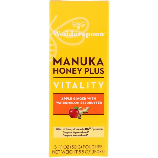 Wedderspoon, Manuka Honey Plus, Vitality, Apple Ginger with Watermelon Seedbutter, 5 Pouches, 1.1 oz (30 g) Each (Discontinued Item)
