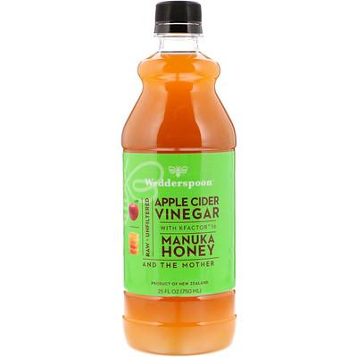 Wedderspoon 含 KFactor 16 的蘋果醋,麥盧卡蜂蜜味,25 液盎司(750 毫升)