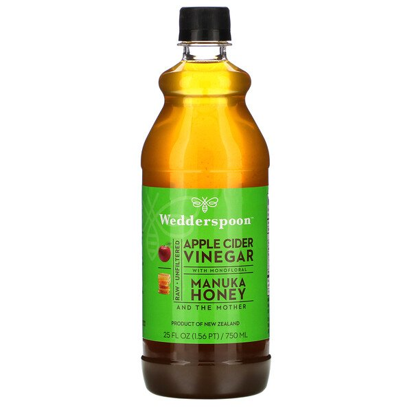 Raw Apple Cider Vinegar with Monofloral, Manuka Honey, 25 fl oz (750 ml)