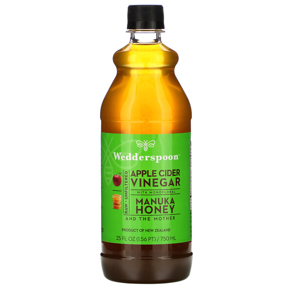 Wedderspoon, Raw Apple Cider Vinegar with Monofloral, Manuka Honey, 25 fl oz (750 ml)