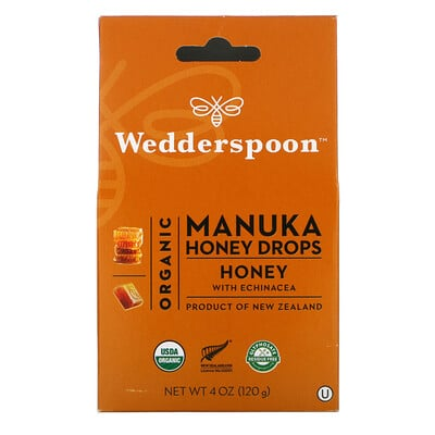Купить Wedderspoon Organic Manuka Honey Drops, Honey with Echinacea, 4 oz (120 g)