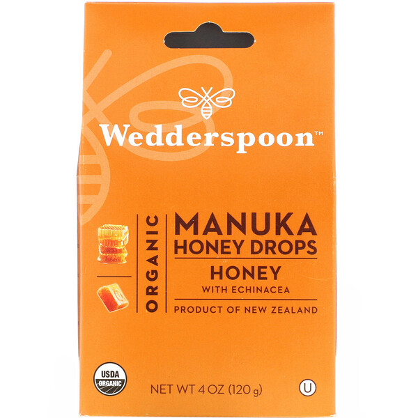 Organic Manuka Honey Drops, Honey with Echinacea, 4 oz (120 g)