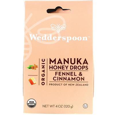 Купить Wedderspoon Organic Manuka Honey Drops, Fennel & Cinnamon, 4 oz (120 g)