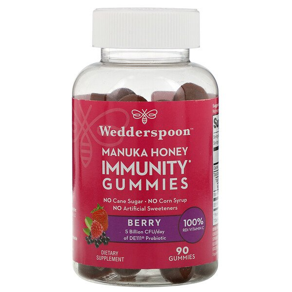 Wedderspoon, Manuka Honey, Immunity Gummies, Berry, 5 Billion CFU, 90 Gummies