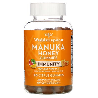 Wedderspoon Manuka Honey, Immunity Gummies, Citrus, 90 Gummies  - купить со скидкой