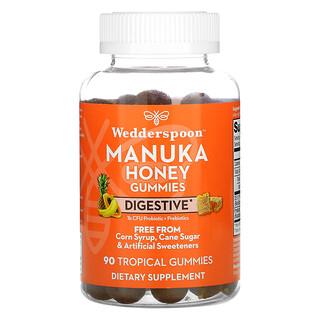 Wedderspoon, Manuka Honey Gummies, Digestive, Tropical , 90 Gummies