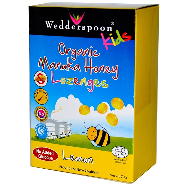 Wedderspoon, Kids Organic Manuka Honey Lozenges, Lemon, 70 g (Discontinued Item)