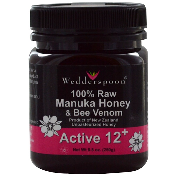 Wedderspoon, 100% Raw Manuka Honey & Bee Venom, Active 12+, 8.8 oz (250 g) (Discontinued Item)
