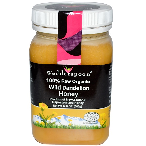 Wedderspoon, 100% Raw Organic Wild Dandelion Honey, 17.6 oz (500 g) (Discontinued Item)