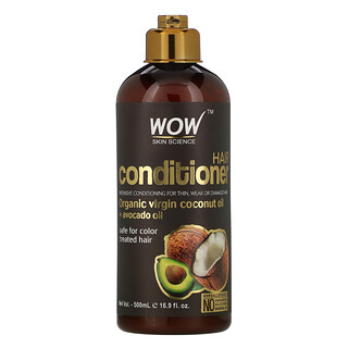 Wow Skin Science, Hair Conditioner, Organic Virgin Coconut Oil + Avocado Oil, 16.9 fl oz (500 ml)