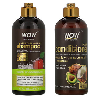 Wow Skin Science, Apple Cider Vinegar Shampoo + Conditioner Haircare, 2 Piece Kit