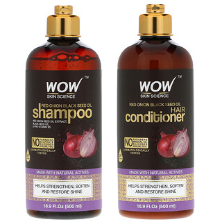 Wow Skin Science, Red Onion Black Seed Oil Shampoo +  Hair Conditioner, 2 Piece Kit