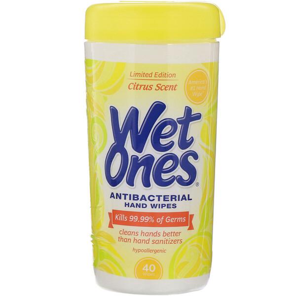 Wet Ones, Antibacterial, Hand Wipes, Citrus Scent, 40 Wipes (Discontinued Item)