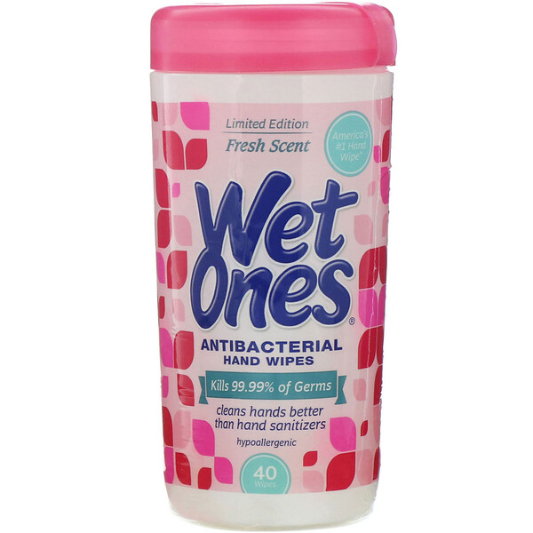 Wet Ones, Antibacterial, Hand Wipes, Fresh Scent, 40 Wipes