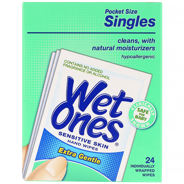 Wet Ones, Sensitive Skin, Hand Wipes, Extra Gentle,  24 Individually Wrapped Wipes