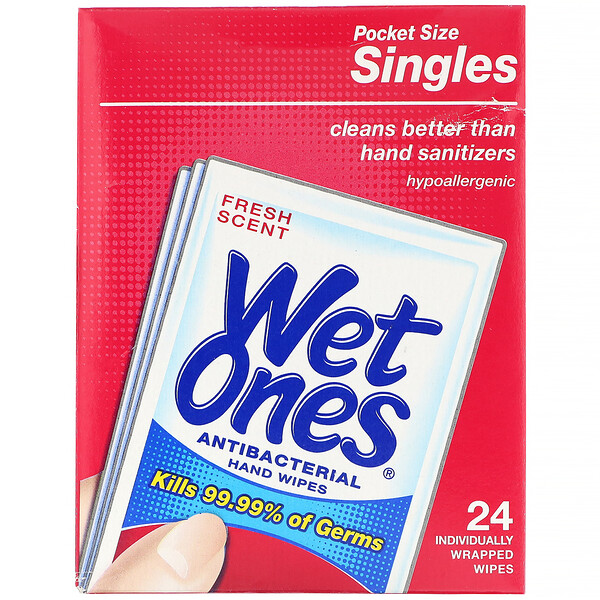 Wet Ones, Antibacterial, Hand Wipes, Fresh Scent, 24 Individually Wrapped Wipes