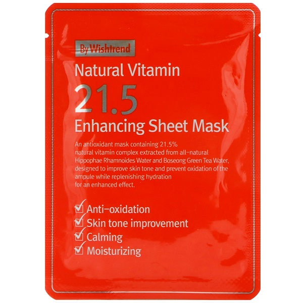 Wishtrend, Natural Vitamin 21.5 Enhancing Sheet Mask, 1 Mask, 0.81 oz (23 g) (Discontinued Item)