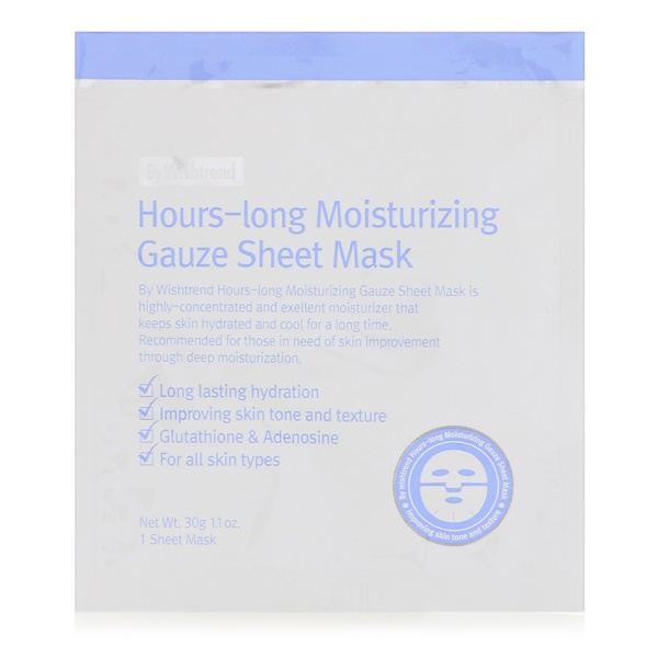 Wishtrend, Hours-Long Moisturizing Gauze Sheet Mask, 1 Sheet Mask, 1.1 oz (30 g) (Discontinued Item)
