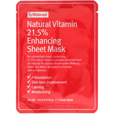 Купить Wishtrend Natural Vitamin 21.5% Enhancing Sheet Mask, 1 Sheet, 0.81 fl oz (23 ml)