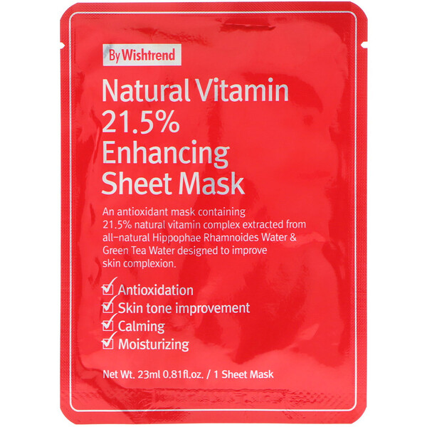 Wishtrend, Natural Vitamin 21.5% Enhancing Sheet Mask, 1 Mask, 0.81 fl oz (23 ml)