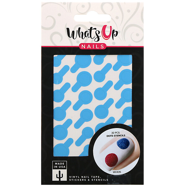 Whats Up Nails, Dots Stencils, 32 Pieces