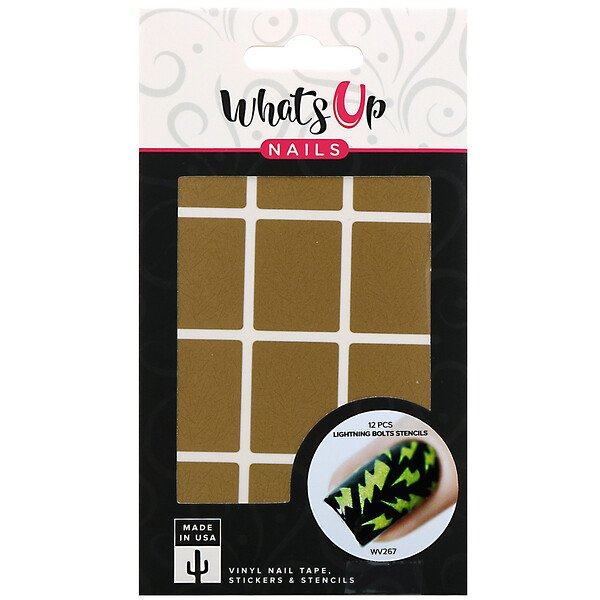Whats Up Nails, Lightning Bolts Stencils, 12 Pieces (Discontinued Item)