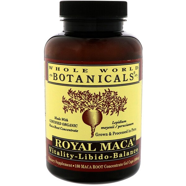 Royal Maca, 500 mg, 180 Capsules de Gel
