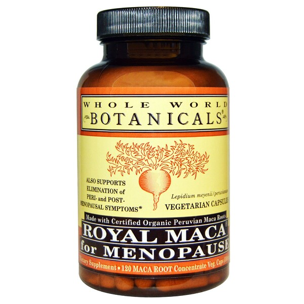 Whole World Botanicals, Royal Maca for Menopause(폐경기용 로얄 마카), 500 mg, 120 베지 캡슐