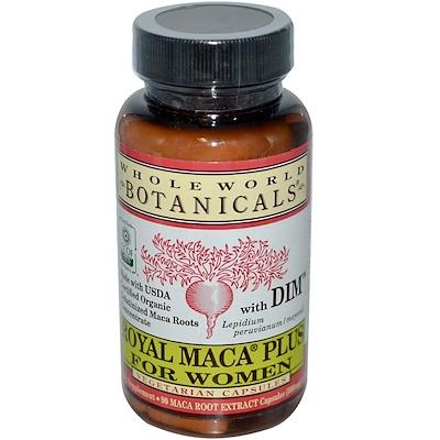 Купить Whole World Botanicals Royal Maca® Plus For Women, премиальная мака для женщин, 500 мг, 90 вегетарианских капсул
