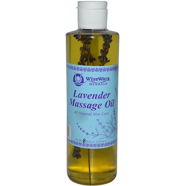 WiseWays Herbals, LLC, Массажное масло лаванды 8 жидких унции (118 мл) (Discontinued Item)