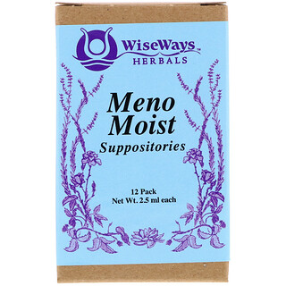 WiseWays Herbals, LLC, Meno Moist Suppositories, 12 Pack, 2.5 ml Each
