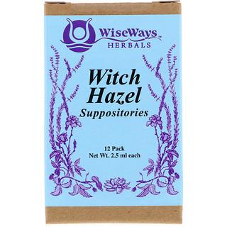 WiseWays Herbals, LLC, تحاميل ويتش هازل، 12 حزمة، 2.5 مل لكل منها