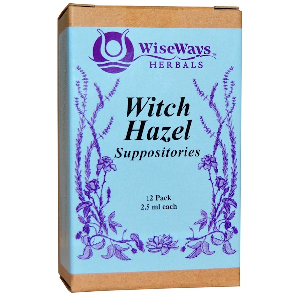 WiseWays Herbals, LLC, Witch Hazel Suppositories, 12 Pack, 2.5 ml Each