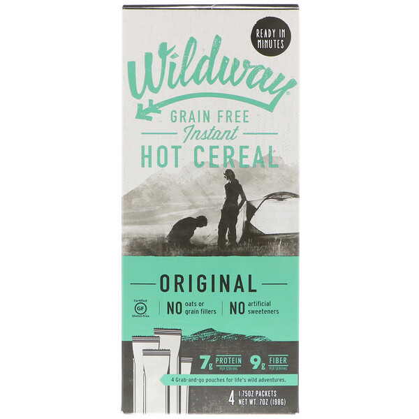 Wildway, Grain Free Instant Hot Cereal, Original, 4 Packets, 1.75 oz (50 g) Each (Discontinued Item)