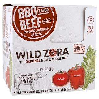 Wild Zora Foods LLC, Meat & Veggie Bar, BBQ Beef with Tomato, Pepper & Kale, 10 Packs, 1.1 oz (31 g) Each