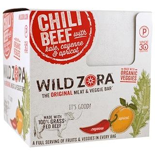 Wild Zora Foods LLC, Meat & Veggie Bar, Chili Beef With Kale, Cayenne & Apricot, 10 Packs, 1.1 oz (31 g) Each