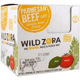Wild Zora Foods LLC, Meat & Veggie Bar, Parmesan Beef with Tomato, Basil & Kale, 10 Packs, 1.0 oz (28 g) Each