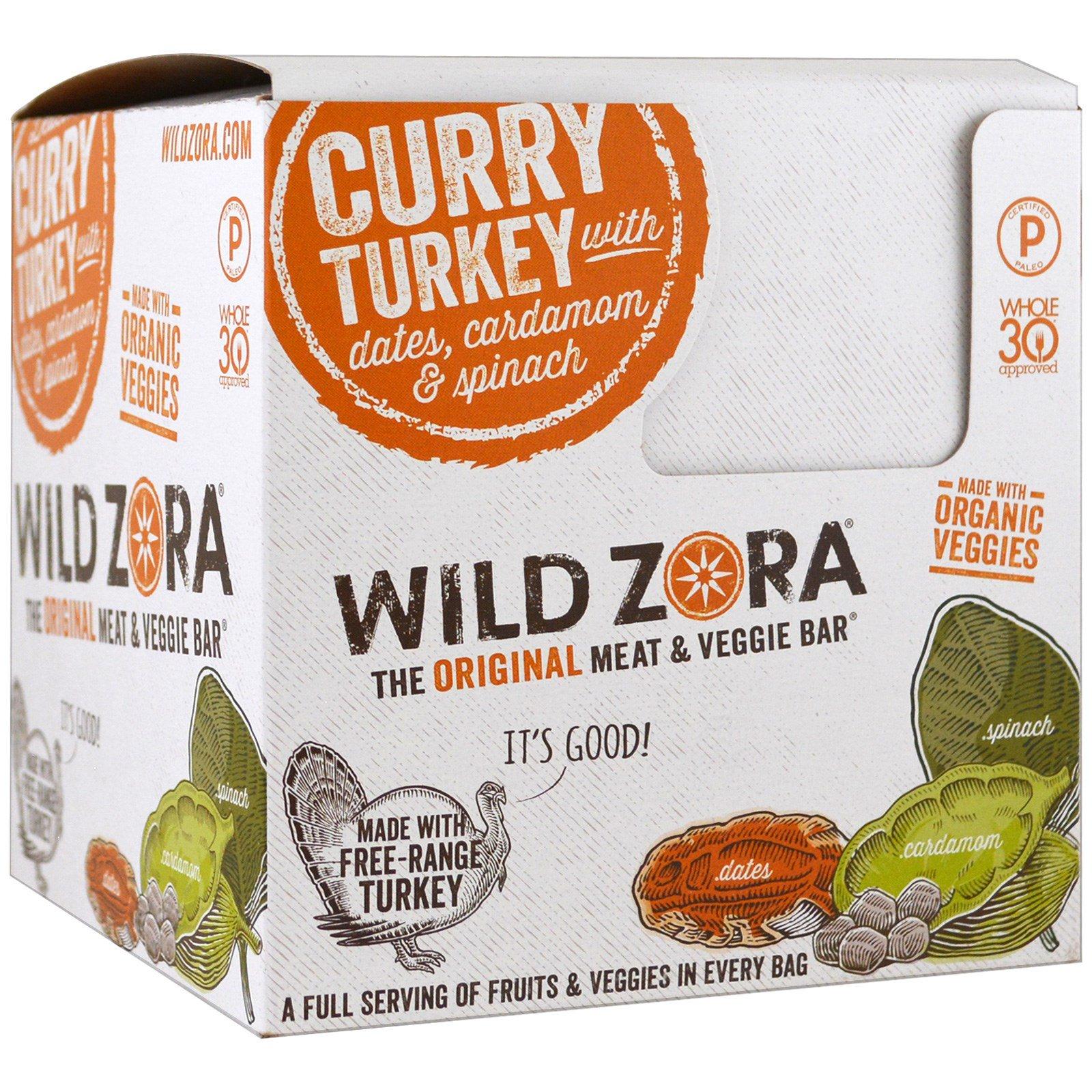 Wild Zora Foods LLC, Мясной и овощной батончик, индейка карри с финиками, кардамон и шпинат, 10 пакетиков, 1.0 унций (28 г) каждый