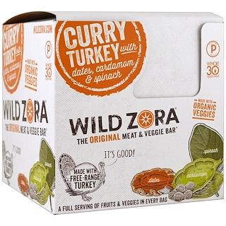 Wild Zora Foods LLC, Meat & Veggie Bar, Curry Turkey with Dates, Cardamom & Spinach, 10 Packs, 1.0 oz (28 g) Each