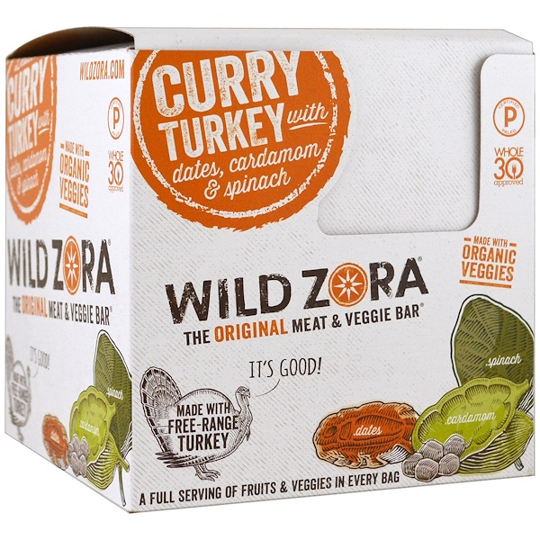 Wild Zora Foods LLC, 蔬菜夾肉棒,咖哩火雞,配有大棗、荳蔻和菠菜,10包,每包1、0 oz (28 g)