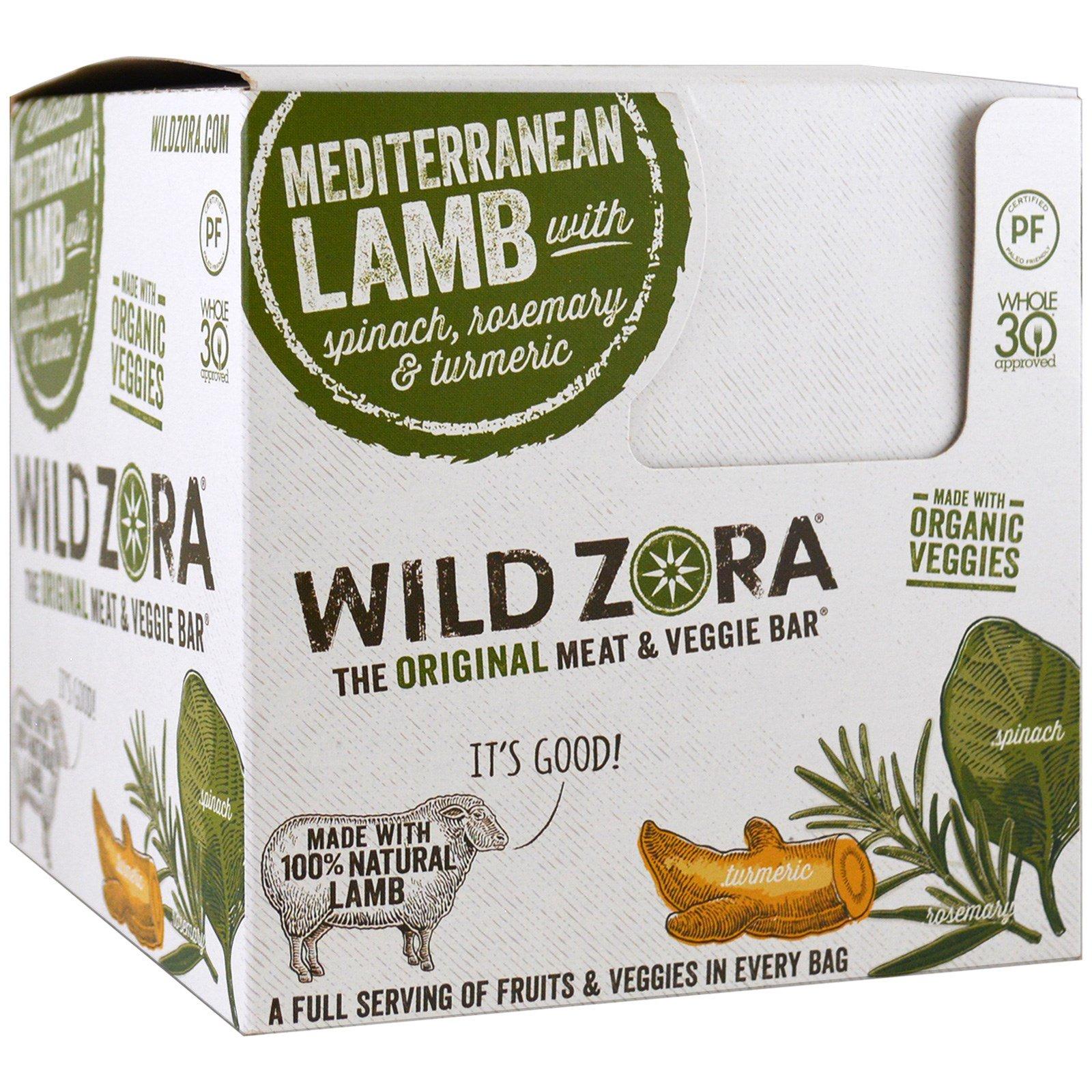 Wild Zora Foods LLC, Батончик из мяса и овощей, средиземноморский ягненок со шпинатом, розмарином и куркумой, 10 упаковок, по 1 унции (28 г) каждая