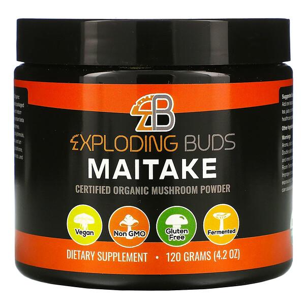 Exploding Buds, Maitake, Hongos orgánicos certificados en polvo, 120g (4,2oz)