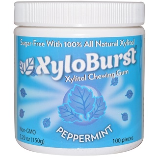 Xyloburst, All Natural Xylitol Gum, Peppermint, 5.29 oz (150 g), 100 Pieces