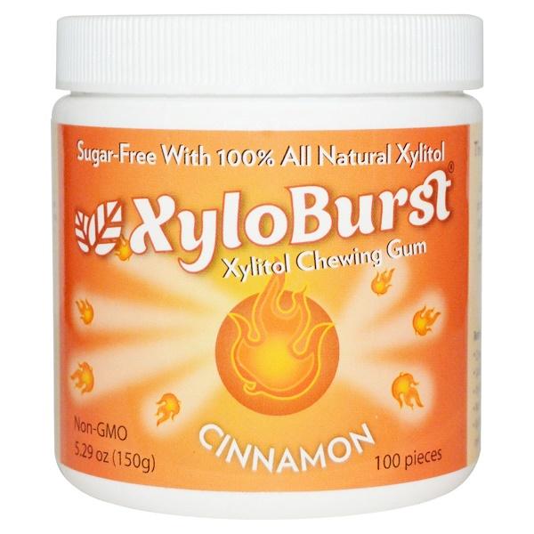 洗浴及美容口腔,牙齒保健口香糖,薄荷糖口香糖:Xyloburst, Xylitol Chewing Gum, Cinnamon, 5、29 oz (150 g), 100 Pieces