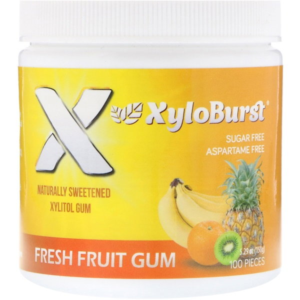 Xyloburst, Xylitol Chewing Gum, Fresh Fruit, 5.29 oz (150 g), 100 Pieces